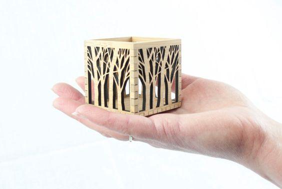 Miniature Box Ornament Wooden Tree Box Small Bamboo by BeamDesigns