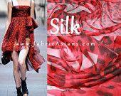 """Red Leopard Silk. Leopard Chiffon. Leopard Print Silk. Silk Fabric. Animal Print Silk. 55"""" wide. 8mumi. SC100411"""