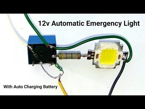 Make A 12v Automatic Emergency Light Circuit With Auto Battery Charging System Or Relay Switch Youtube In 2020 Emergency Lighting Circuit Emergency