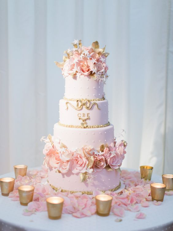 Pretty pastel pink and gold wedding cake | Photography by http://www.alexandreweddings.com/