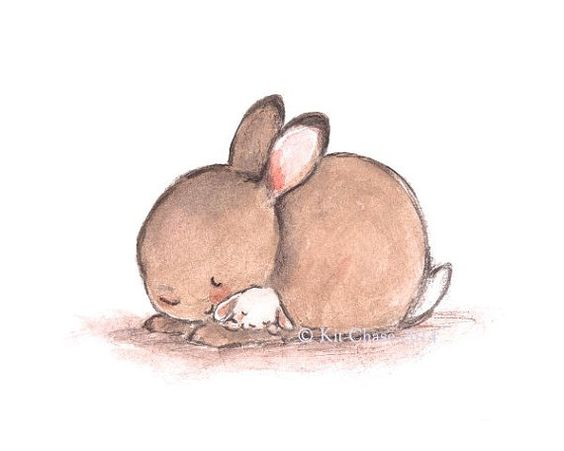 Nursery Art BABY MINE BUNNY Art Print por trafalgarssquare: