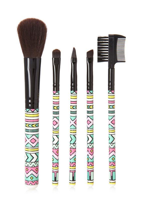 Tribal Print Cosmetic Brush Set   Forever 21 - 1000096393