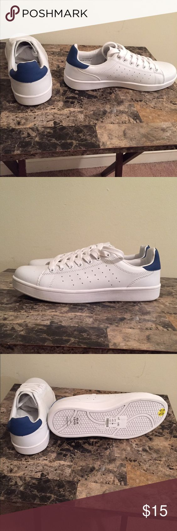 Cute tennis sneakers. New White with back blue accent tennis sneakers. New Look Shoes Sneakers