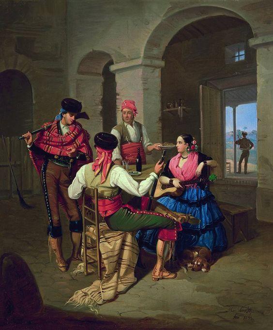 Manuel Cabral Aguado Bejarano Escena en una venta, 1855. Óleo sobre lienzo, 62 x 52 cm. Colección Carmen Thyssen-Bornemisza en préstamo gratuito al Museo Carmen Thyssen Málaga.
