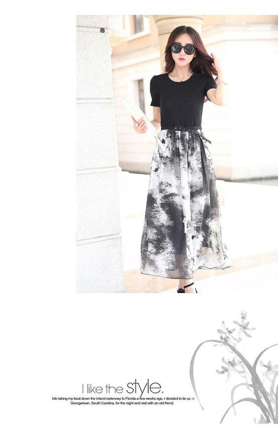 Short-Sleeve Printed-Panel Midi Dress - Romantica | YESSTYLE