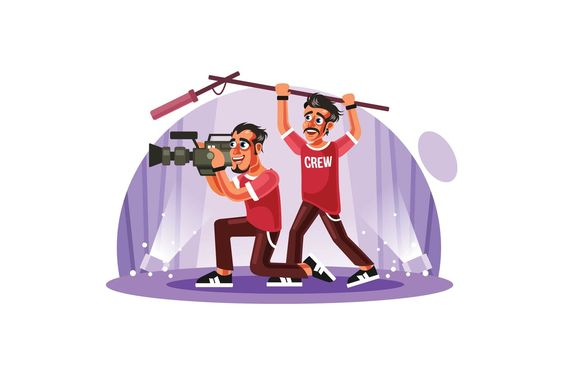 Cameraman and Sound Engineer Vector Illustration AI, EPS