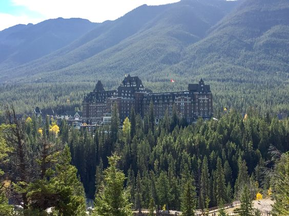 Banff Springs Fairmont hotel from Surprise Lookout in Banff National Park