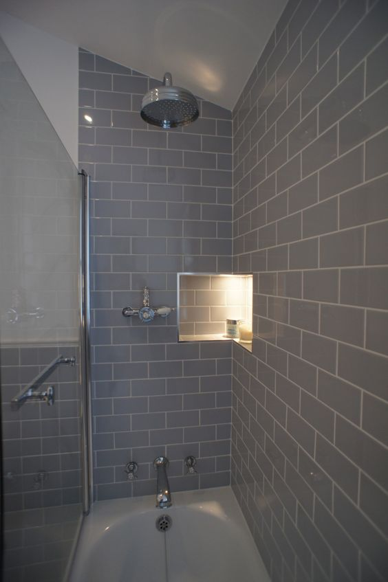 These photos were sent in from an interior designer who created this beautiful bathroom using our Grey Flat Retro Metro 7.5x15cm