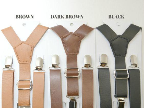 Hochzeit-Vintage Brown / dunkel braun / schwarz / Rost braun 1 Zoll Breite PU Leder verstellbare Hosenträger Y-Back Kids Boys Größe 8 Mo - Erwachsene