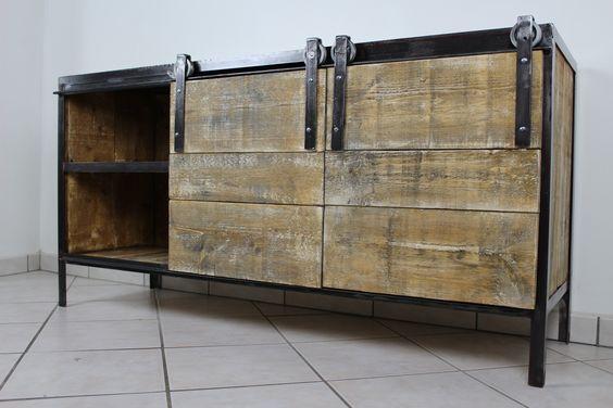 meuble enfilade industriel enfilade industriel pinterest. Black Bedroom Furniture Sets. Home Design Ideas