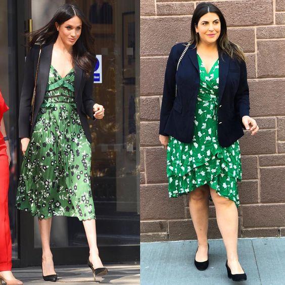 Uma blogger plus size com os looks da princesa Meghan Markle