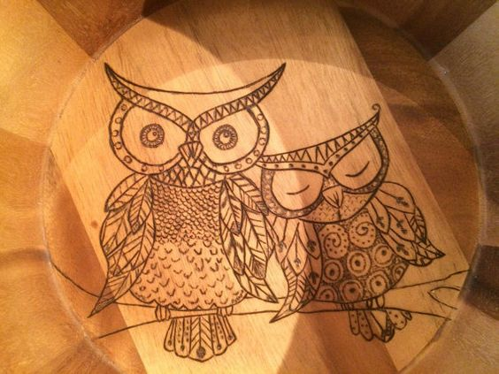 Large wooden bowl wood burned with 2 owls. by Momsrusticwoodshop