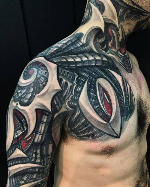 Lion Tattoo Chest Through Shoulder Back Chest Tattoo Men Tribal Tattoos For Men Lion Chest Tattoo