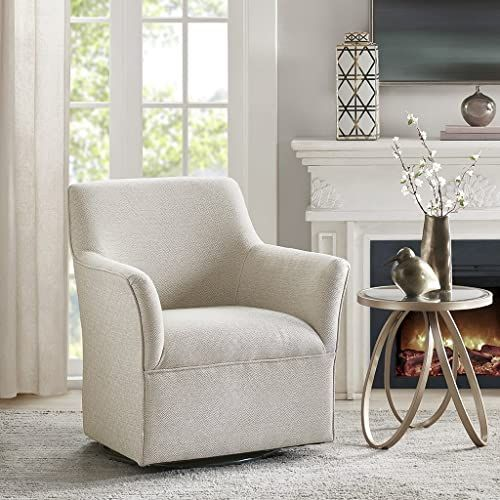Buy Madison Park Augustine Swivel Glider Chair Solid Wood Plywood Metal Base Accent Armchair Modern Classic Style Family Room Sofa Furniture Cream Online In 2020 Swivel Glider Chair Glider Chair Swivel Glider
