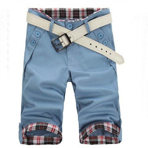 Man Slim Fit Blue Shorts