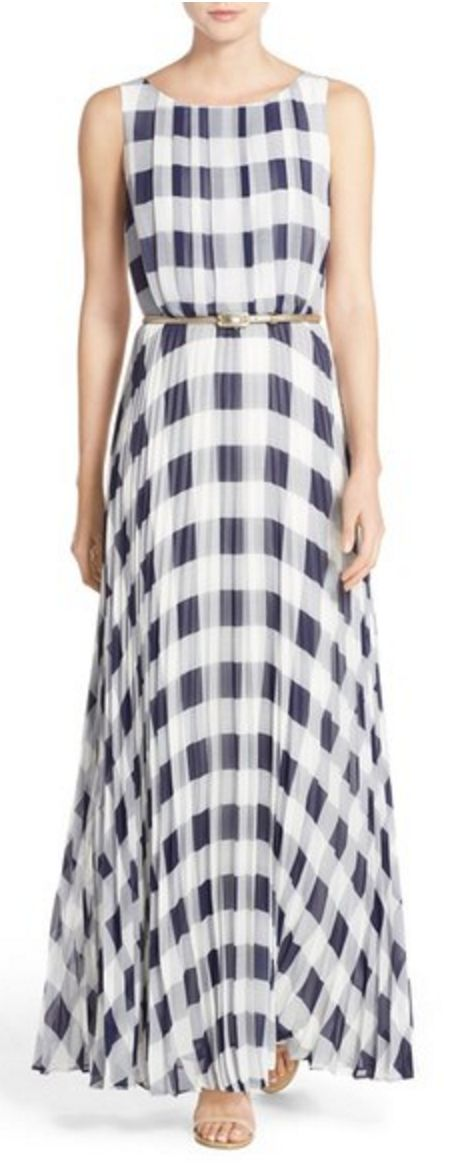Belted Pleated Navy Gingham Maxi