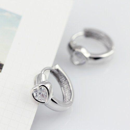 Honeystore Ohrringe / Creolen mit Zirkonia-Steinen in Herzform, Weiß - See more at: http://juwel.florentt.com/jewelry/honeystore-ohrringe-creolen-mit-zirkoniasteinen-in-herzform-wei-de/#image