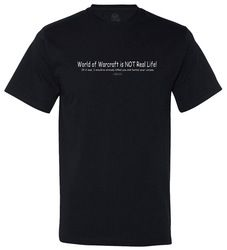 WoW Isn't Real Funny MMORPG Tshirt by Offworld Designs. Available in Men's sizes, on black. World of Warcraft, Online gaming, RPGs, PC Gamers.