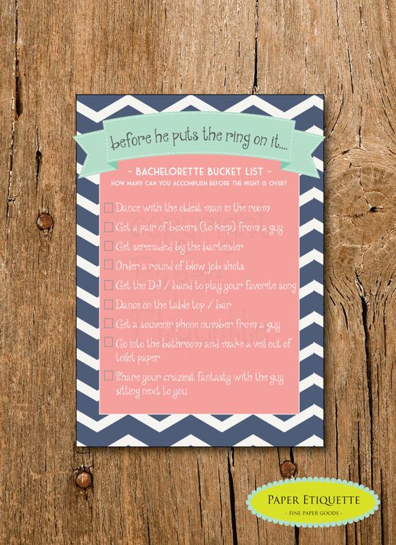 INSTANT UPLOAD Bachelorette Bucket List Shower Game  - Turquoise, Navy and Coral Chevron -  Print Your Own
