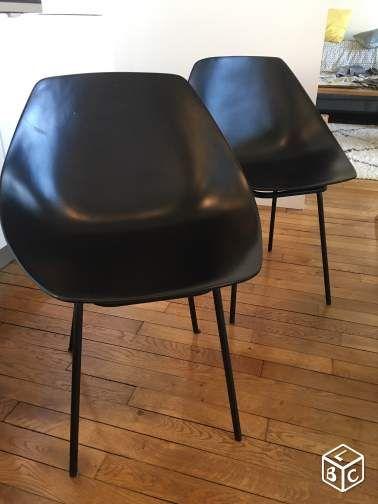 Chaises Vintage Pierre Guariche Coquillage Noir