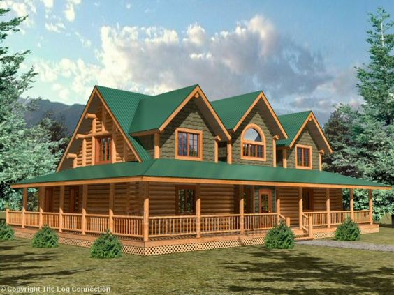 Pinterest the world s catalog of ideas for Log homes with wrap around porches