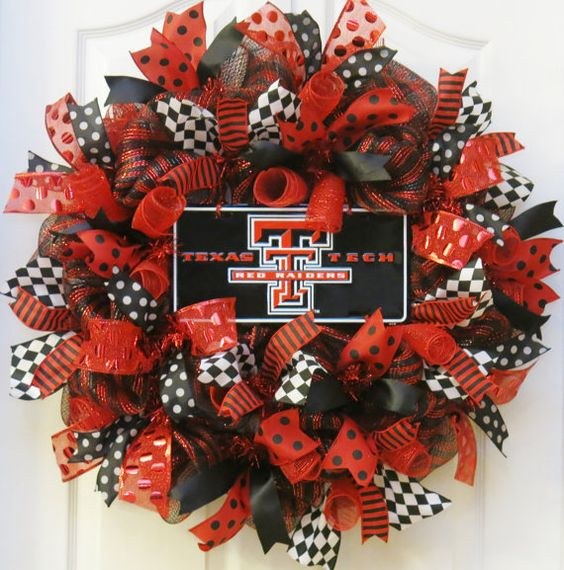College Wreath deco mesh wreath with Texas Tech by PinkBluebonnet