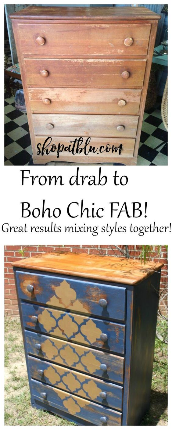 Upcycled basic chest became a Boho shabby eye catcher!  We used Country Chic All in One paint and metallic cream!