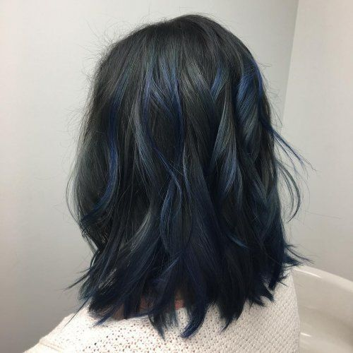 Blue Ombre And Balayage Hair Color Blue Highlights In 2020 Blue