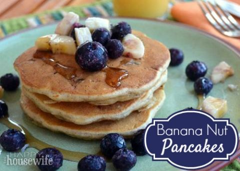 Banana Nut Pancakes at The Happy Housewife