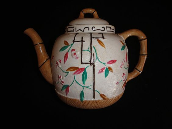"""Antique Teapot  English """"Bamboo and Trellis"""" Brownhills Pottery Co.. $200.00, via Etsy."""