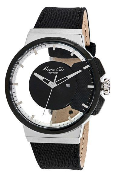 men 39 s kenneth cole new york transparent dial watch. Black Bedroom Furniture Sets. Home Design Ideas