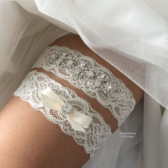 Bridal Garter-Wedding Garter-Rhinestone by RoseybloomBoutique