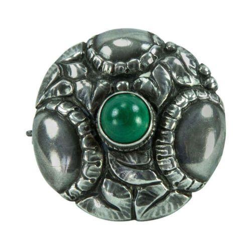 Theodor-Fahrner-Jugendstil-Silver-and-Green-Onyx-Brooch-Pin