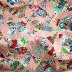 Heres a quick repost of the finished Touching Star Quilt as requested. This version is a close reproduction of the original 1930s Quilt we found in Massachusetts the pink is almost identical. We have used lots of vintage feed sack reproduction fabrics and a little Liberty lawn. We managed to get more of the pink background fabric so if you want some let us know. The pattern includes the template and is $28.95 we can ship worldwide let us know your state country zip code and we can provide a post