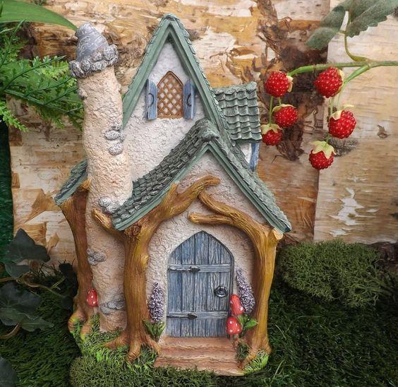 Arte Miniature World Duendecillo Hada Bosque Casa De Jardín Bosque Casa De Campo