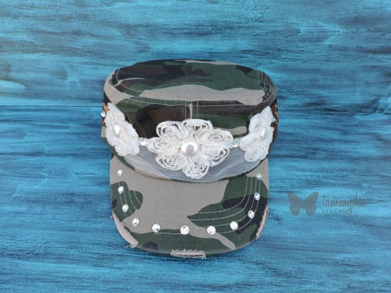 Camo Hat, Shabby Chic Hat, Leopard Hat, Rhinestone Hat, Camouflage Hat, Shabby Chic Flowers, Country Girl Cadet Hat, Hunting Hat, tammydee