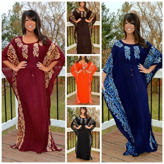 S M L XL 1X 2X 3X Solid Paisley Embellished Maxi Kaftan Caftan Dress Cover Up #Neelam #Kaftan