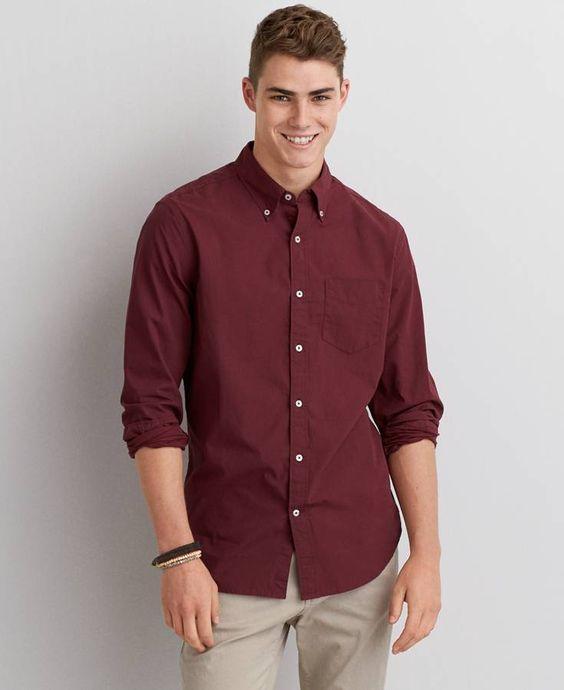 Aeo rugged flannel shirt button down shirts shirt men for Maroon t shirt for men