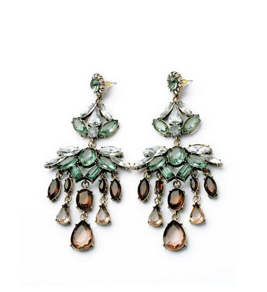 Fashion crystal stone statement earrings