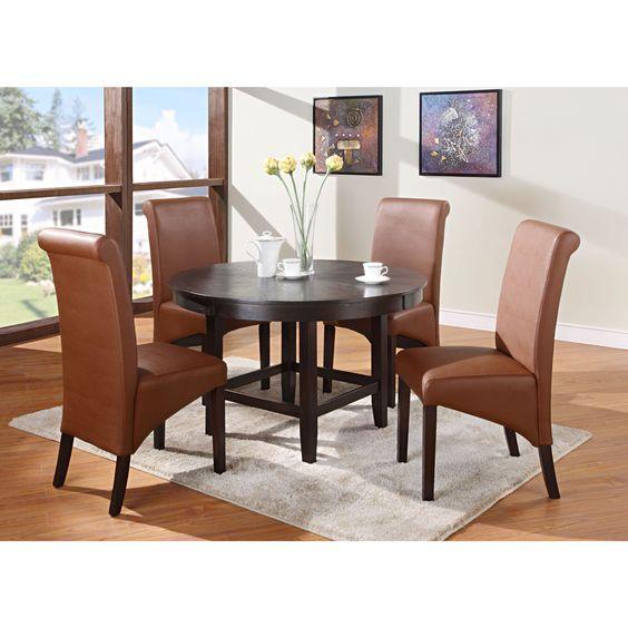 Domusindo Legged Pedestal 48-inch Round Dining Table in Dark