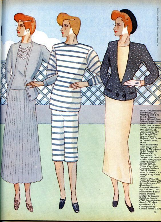 Fashion drawing from 19 Magazine 1980s