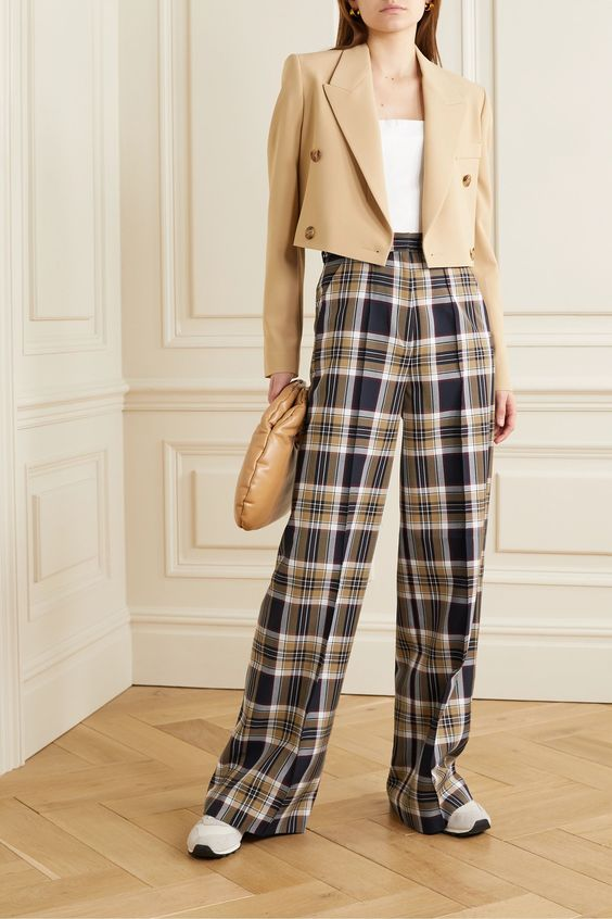 Navy Checked twill wide-leg pants | Rokh | NET-A-PORTER