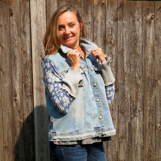 Light Distressed Pearl Collared Jean Jacket With Blue Gray Daisy Print Sweater Sleeves by Dianadesignsweaters on Etsy