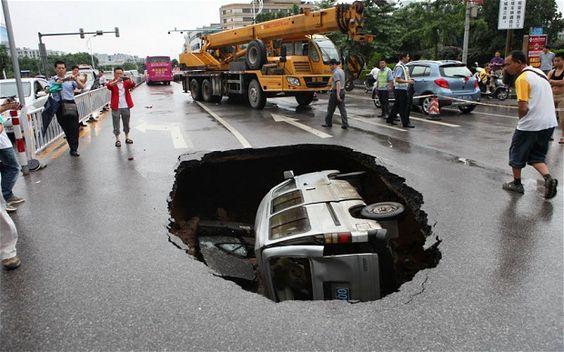 How big was the pothole? Minivan Big.