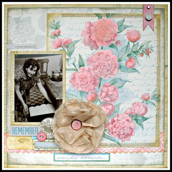 New Teresa Collins SWEET AFTERNOON, vintage before and after layout by DT member Cheri: