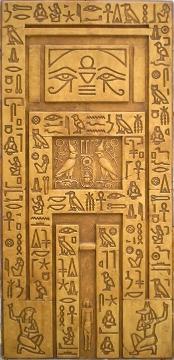 Egyptian wall false door with heiroglyphs 190 secret for Ancient egyptian tomb decoration