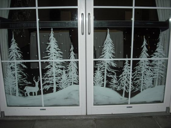 Snowy forest doors by Window-Painting.deviantart.com on @deviantART: