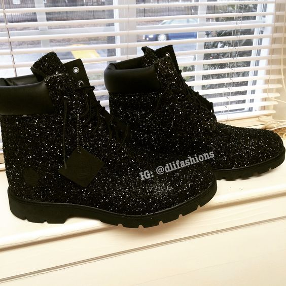 Custom Glitter Timberlands by DLiFashions! Great way to wake up your winter wardrobe! For ordering questions email: KnowTheFashion@gmail.com:
