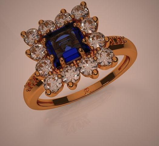 Diamond ring with color stone