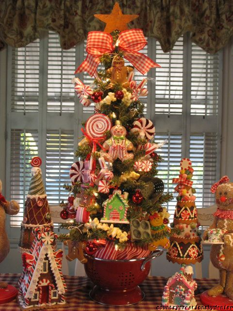 Primitive gingerbread candy kitchen christmas tree created for Candy xmas tree decoration